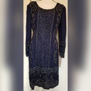 VINTAGE Champ Ellyse Beaded Sequin Silk Dress NWT